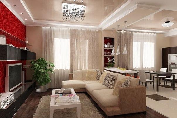 Проект дизайна гостиной-кухни в трехкомнатной квартире.Авторы: Архитектурная студия