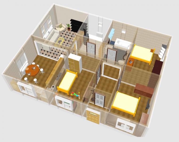 Проект одноэтажного дома с тремя спальнями (110+ идей): преимущества и возможные варианты постройки