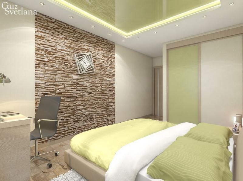 Декоративный камень в спальне. Дизайн-студия Изюмина