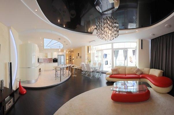 Дизайн гостиной со сложным дизайном