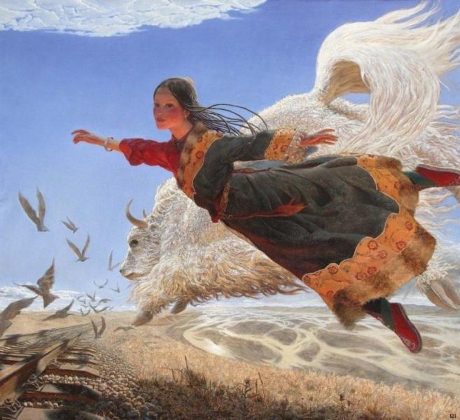 Летающий Тибет в работах художника Wang Yi Guang