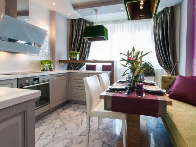 Объединение балкона с кухней: этапы перепланировки и 70 наиболее комфортных реализаций