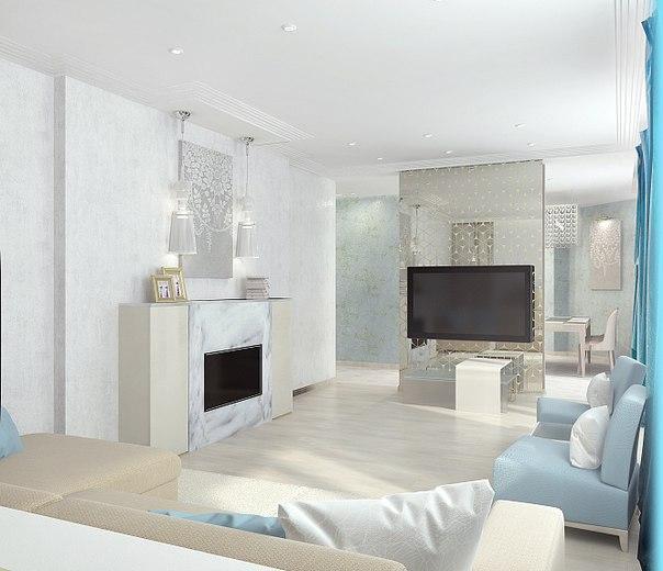 В ГОЛУБОМ Квартира в бело-голубых оттенках вызывает ощущение спокойствия и желание