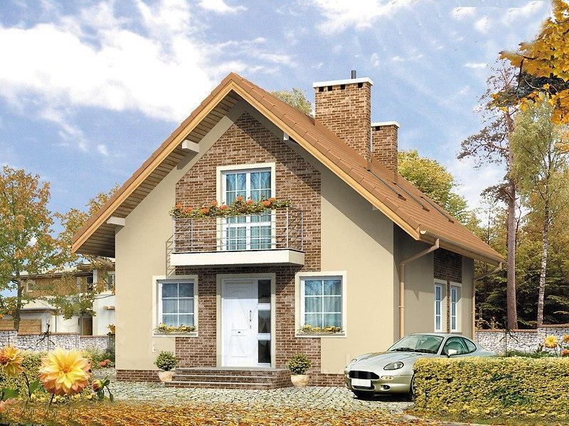 Эскиз проекта дома с мансардным этажом Общая площадь - 105.7 кв.мЖилая площадь -62.4