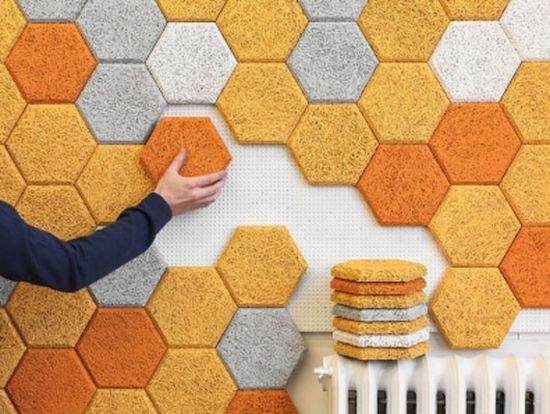 Декоративные стеновые панели в виде пчелиных сотЭто решение было придумано в Швеции