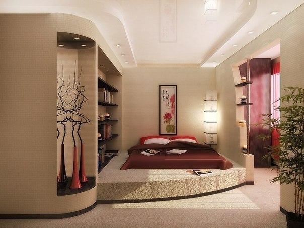 Светлая спальня с добавлением красного