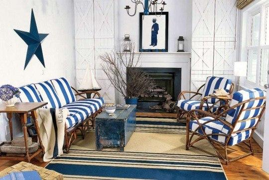 Гостиные с использованием голубого цвета