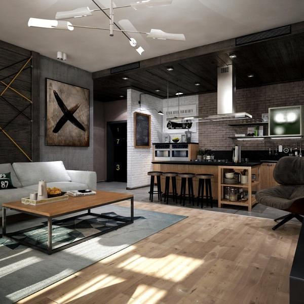 Проект двухкомнатной квартиры-студии