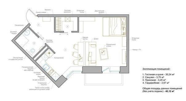 Интерьер квартиры 40 кв м