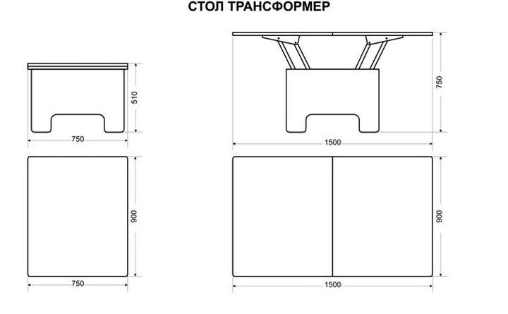 Стол-трансформер: журнальный и обеденный