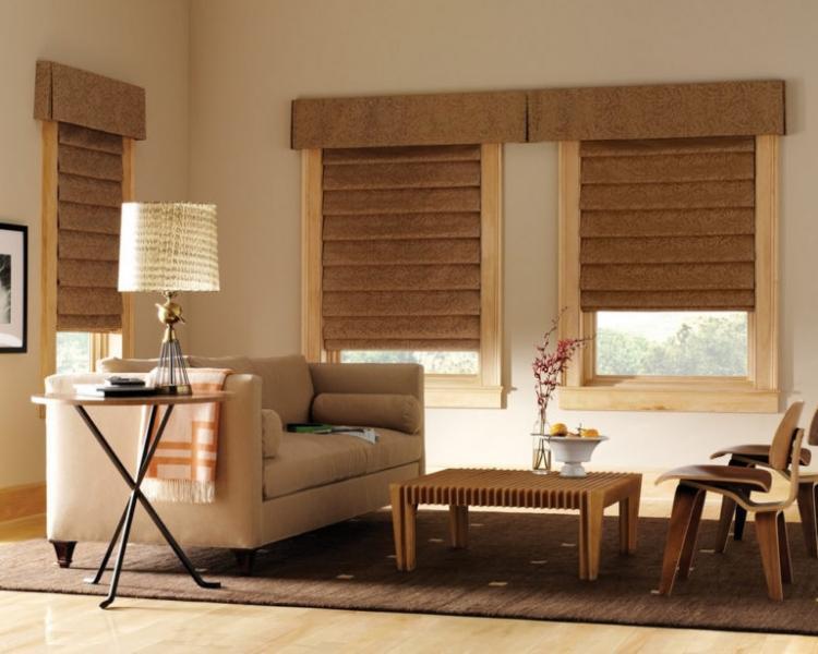 Использование римских штор в интерьере различных комнат