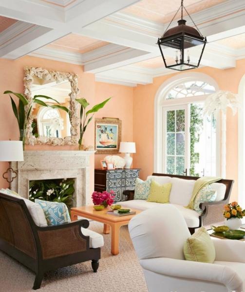 Персиковый цвет (52 фото): яркие фруктовые всплески в интерьере