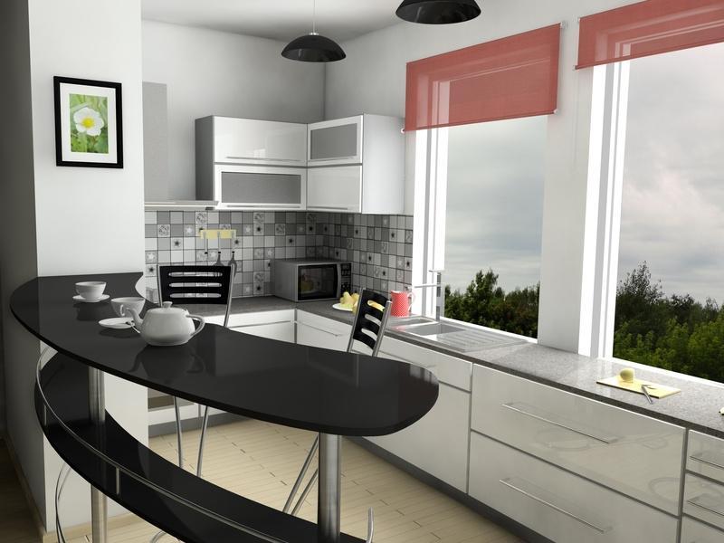 Барная стойка и стулья для кухни в одном стиле