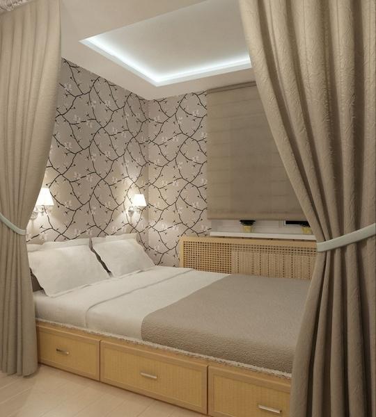 Спальни с кроватью-подиумом