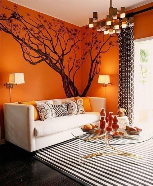 Интерьер в оранжевых тонах