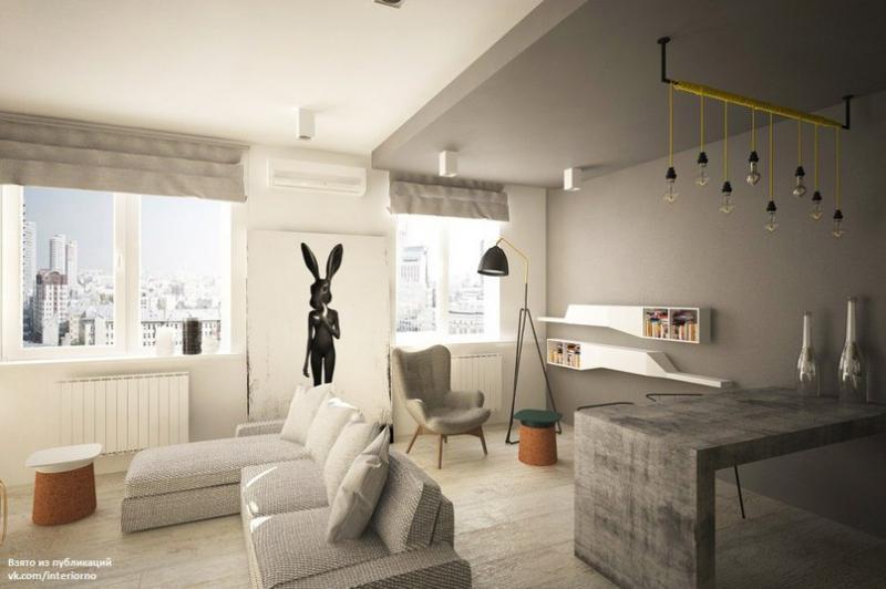 Квартира для молодого человека площадью 44,5 кв.м.Авторы проекта - Карнаухова Диана,