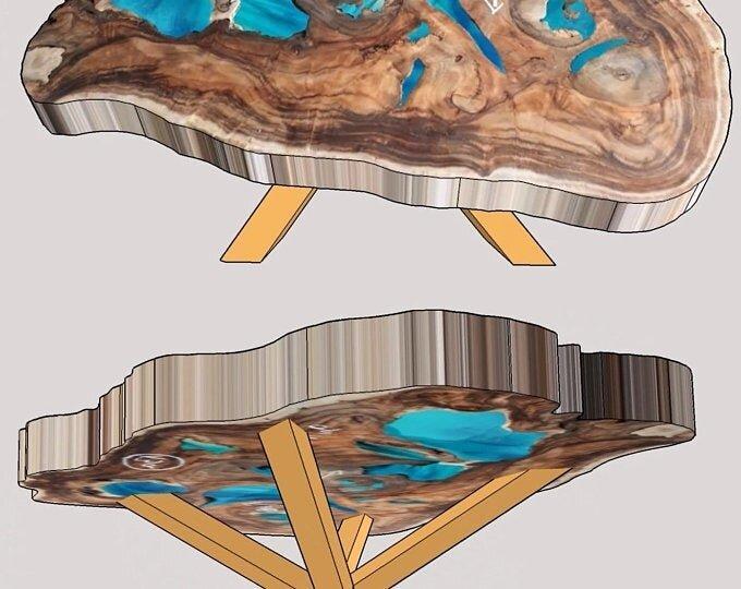 Эпоксидный стол и 3D дизайн проект к нему