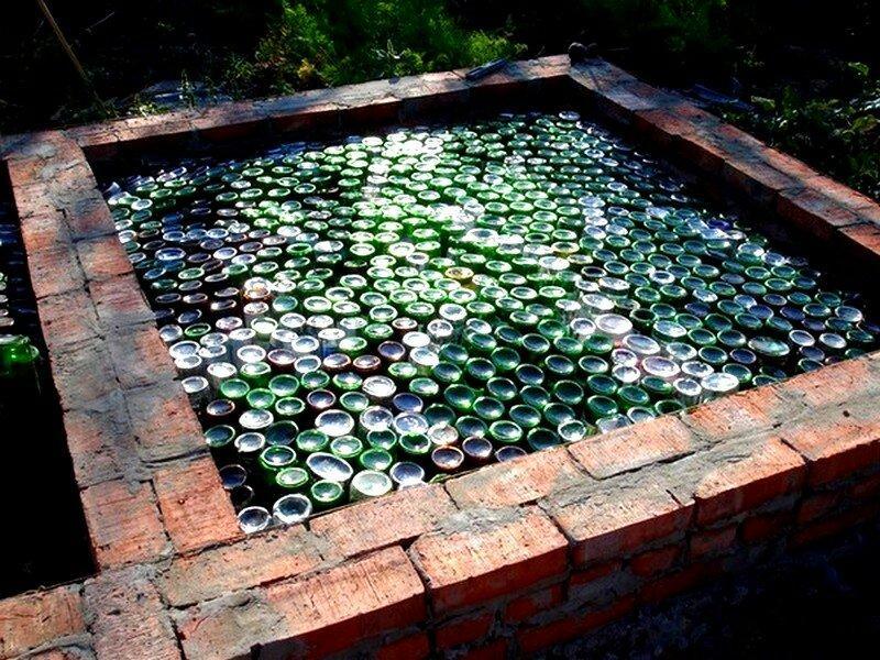 Утепление бетонных полов пустыми стеклянными бутылками