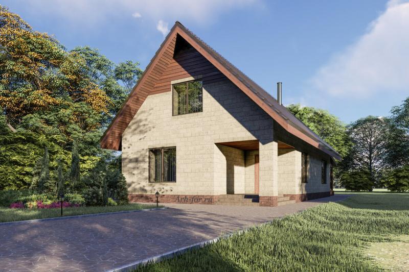 Двухэтажный загородный дом с подвалом