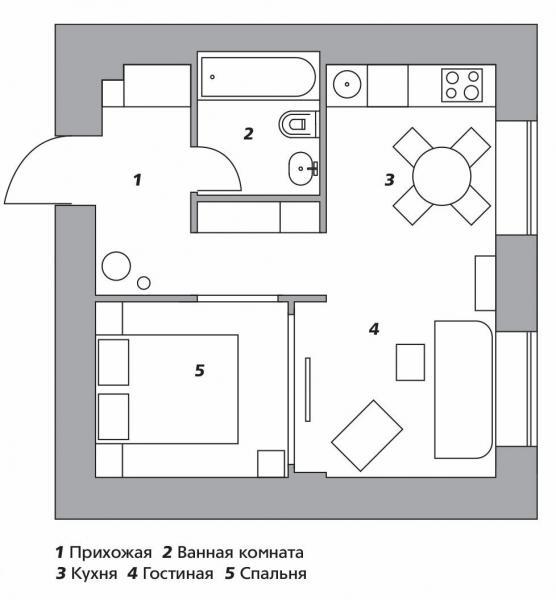 Квартира в спокойных тонах в Москве, 34 м²