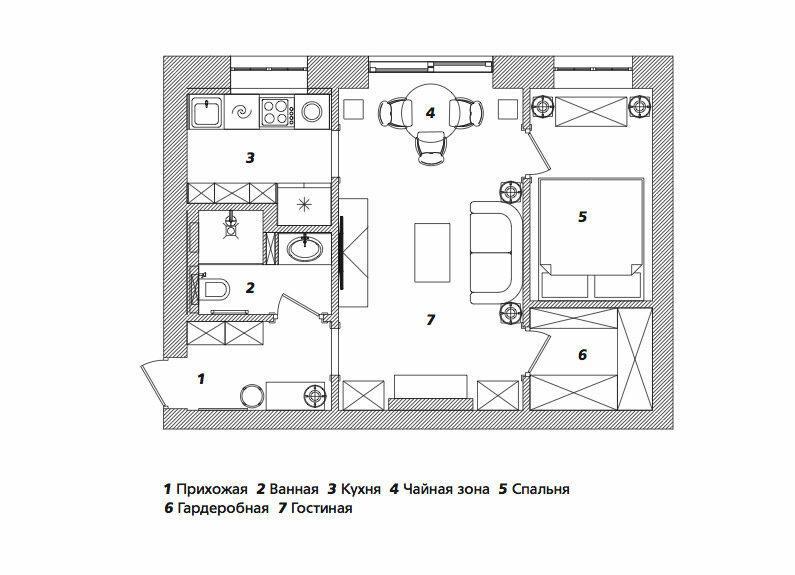 Маленькая квартира с антикварными находками, 39 м²
