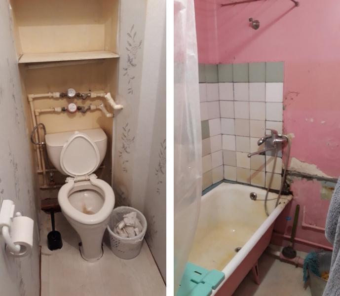 Эффектная ванная комната на 3 квадратах с зеркальной плиткой