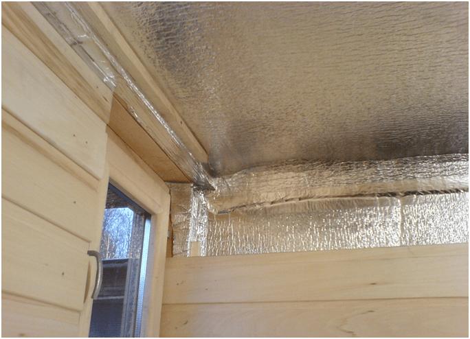 Утепление потолка в бане