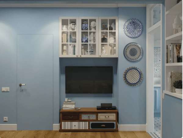 На 43 кв.м - спальня, детская, кухня, гостиная и потрясающий воображение интерьер