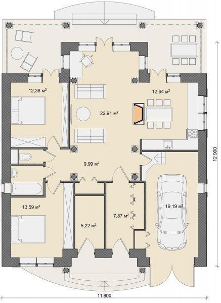Четыре одноэтажных коттеджа 100-110 м2