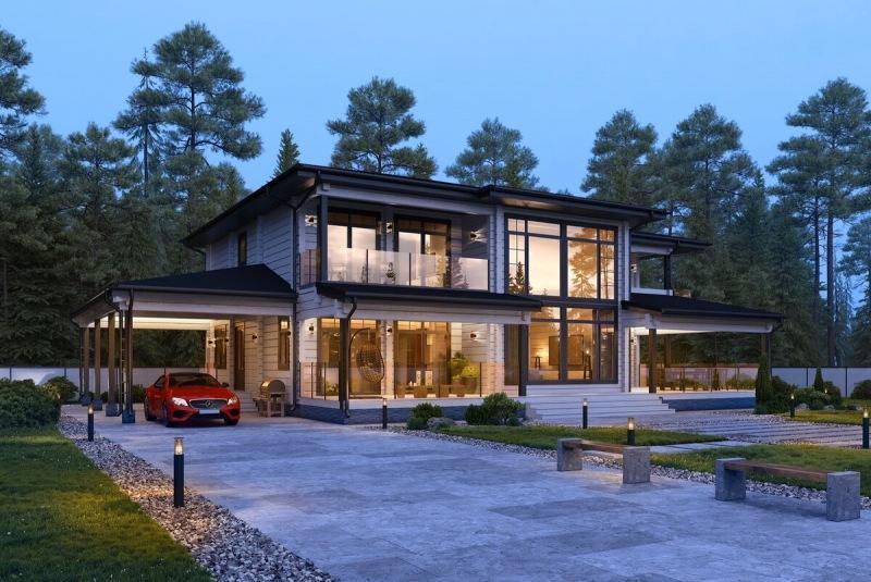 Удивительный авторский дом с большими окнами под Питером
