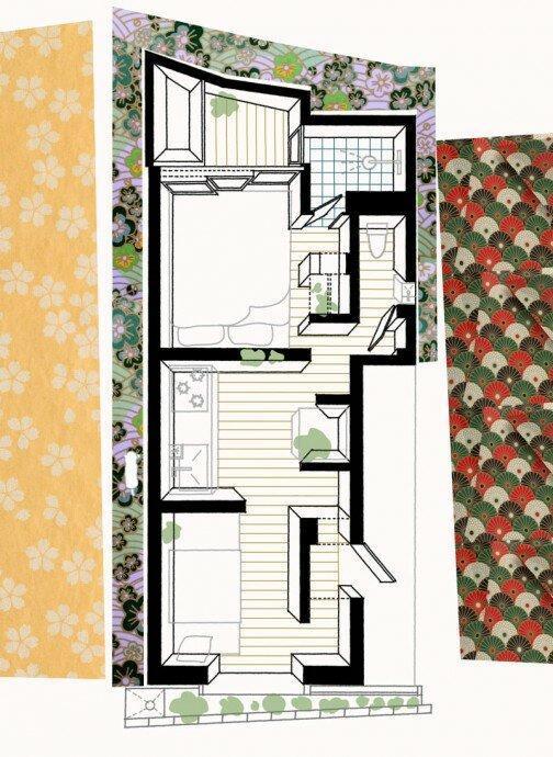 Микро-дом площадью 19 м2 в Токио с архитектурным куполом над гостиной. Здесь главное игра света, а не цвета. Фантастический дом