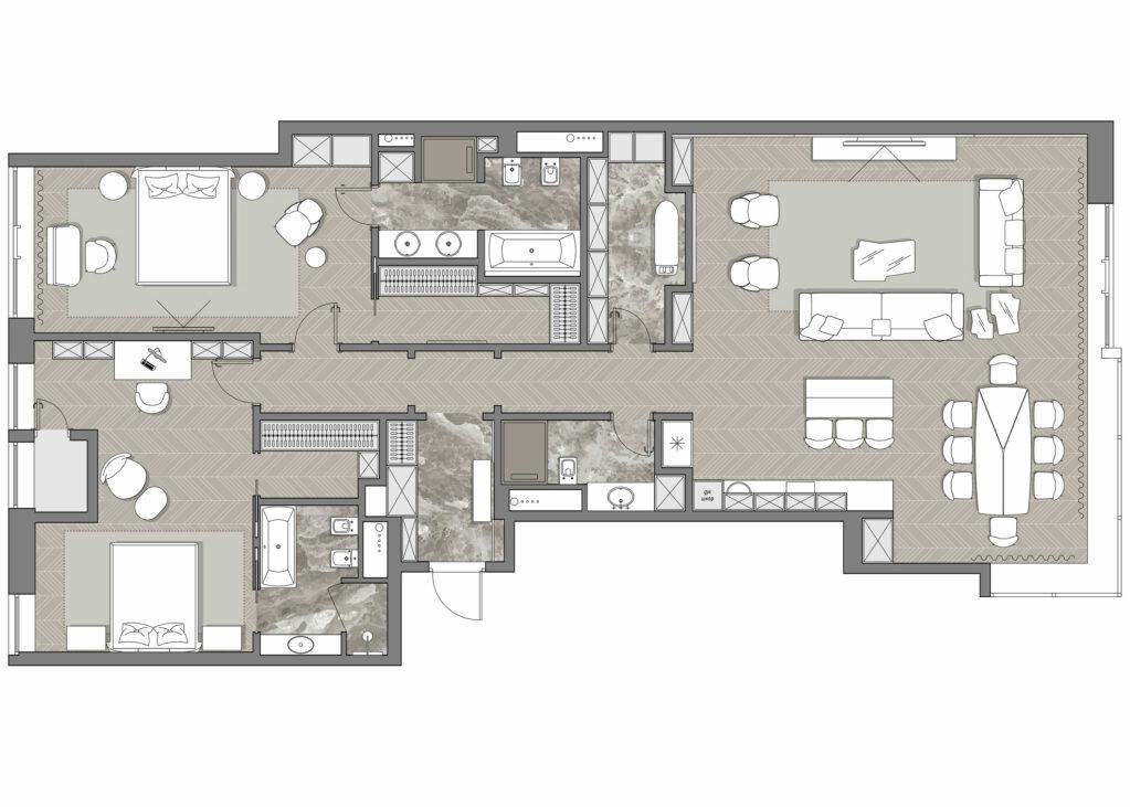 Квартира с благородной отделкой, 165 м²