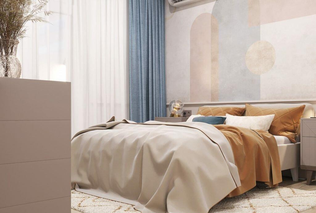 Оливковый, песочный, голубой...Красивый интерьер евро-двушки в стиле современная классика