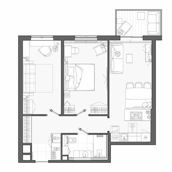 Ритмичный интерьер квартиры на Васильевском острове, 70 м²