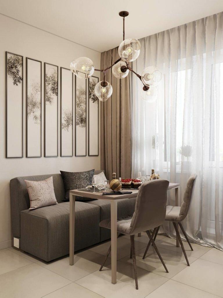 Стильный нейтральный интерьер однокомнатной квартиры в теплых серо-бежевых тонах