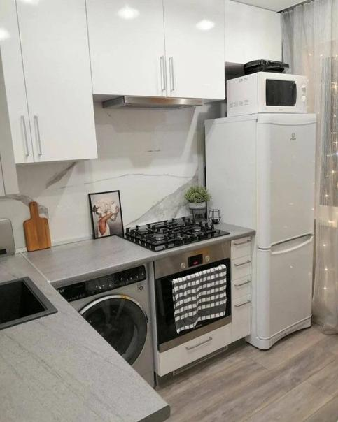 """Достойный ремонт """"хрущевской"""" кухни, вместили даже стиралку, а каждый сантиметр использован разумно!"""