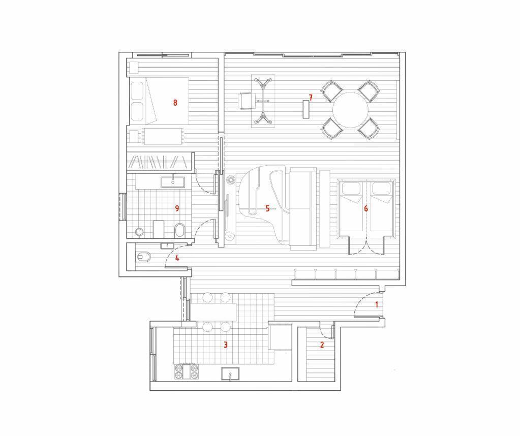 Квартира с деревянным домиком для детей, 100 м²