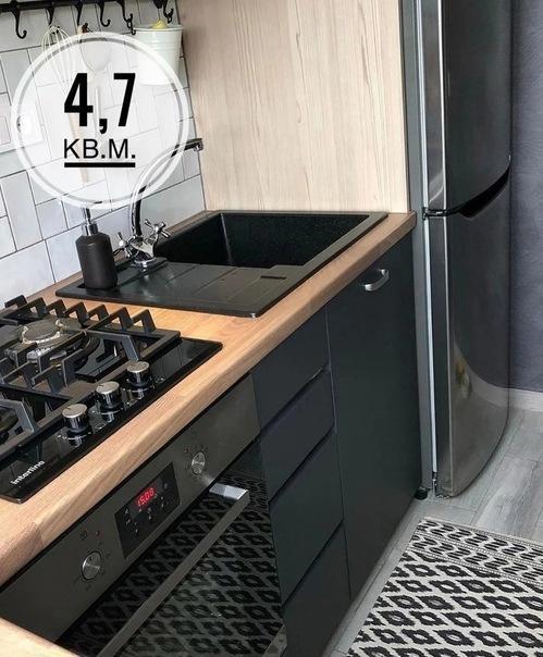 """Маленькая кухонька в """"хрущевке"""", площадью 4,7 квадрата: бюджетный ремонт без перепланировки!"""