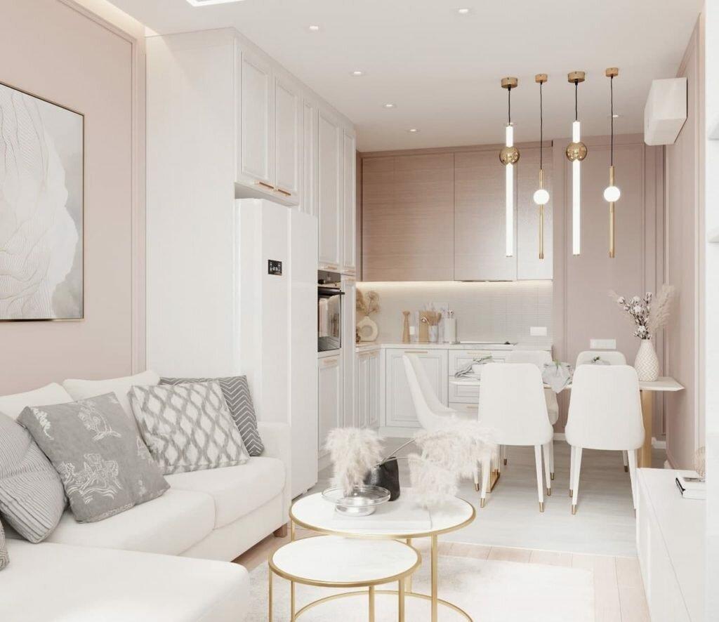 Белый и кремовый - восхитительный дуэт в воздушной кухне-гостиной в стиле нео-классика
