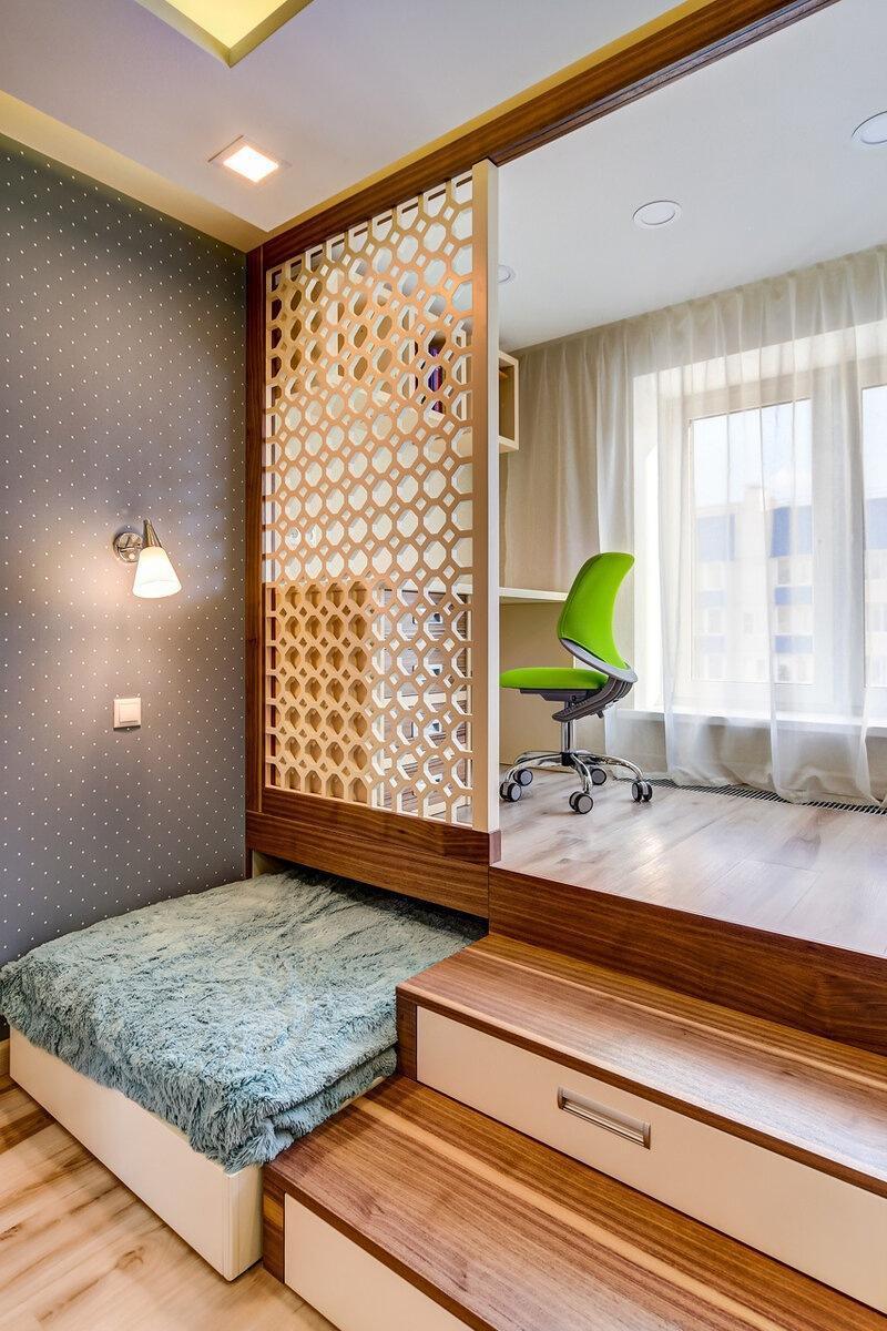Подиум с выдвижными кроватками для детской