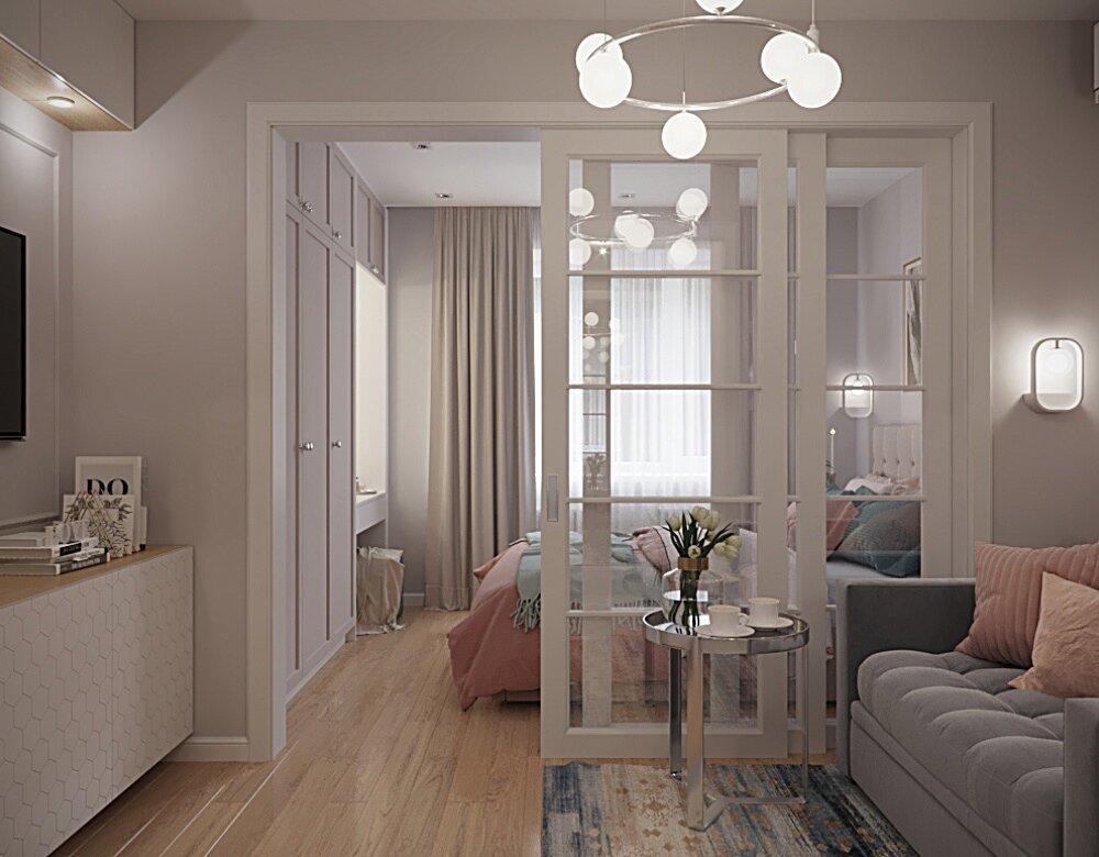 На 37 кв.м. - гостиная, спальня, кухня, прихожая, ванная... Как обычную однушку превратили в элегантную двушку