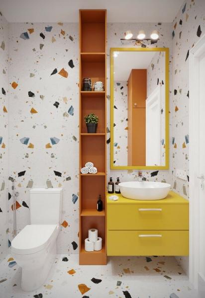 Солнечно-ягодная экзотика. Квартира для мамы в летних, теплых оттенках 38 кв.м.