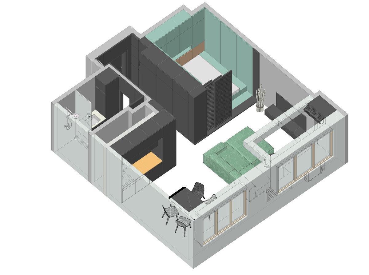 Контрастная квартира 42 м² в Москве