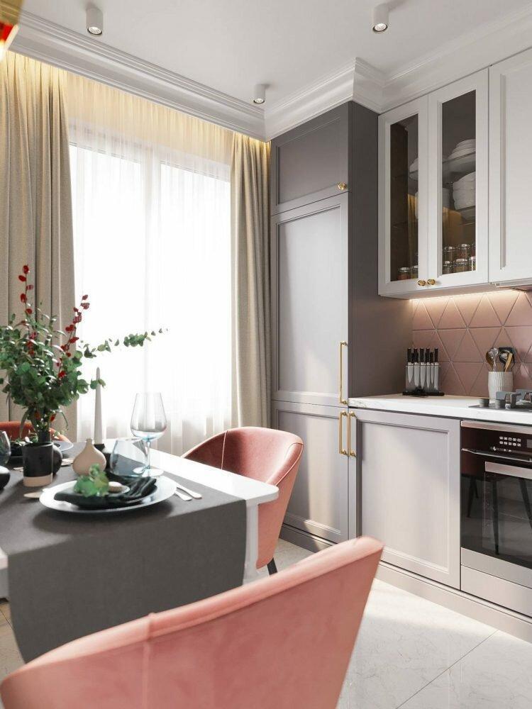 На 33 кв.м. - отдельная кухня, спальня, гостиная, ванная и завораживающий интерьер. Приятная квартира после перепланировки